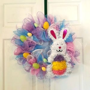Hand Crafted Deco Mesh Easter Wreath Bunny Eggs